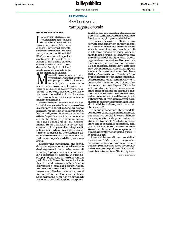 Stefano Bartezzaghi 19_5_2014 La Repubblica